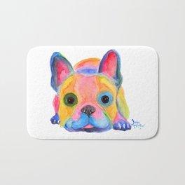 Nosey Dog French Bulldog ' AM I FRENCH ? ' by Shirley MacArthur Bath Mat