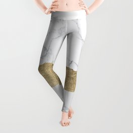 Elegant faux gold foil gray white modern marble Leggings