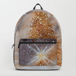 Magical Gold Christmas Tree in Snowy Night Watercolor Backpack