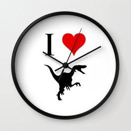 I Love Dinosaurs - Velociraptor Wall Clock