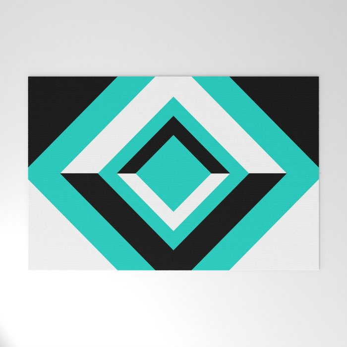 Teal Black and White Diamond Shapes Digital Illustration - Artwork Welcome Mat