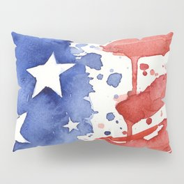 American Flag Watercolor Abstract Stars and Stripes Pillow Sham
