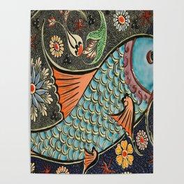 bohemian folk art orange aqua blue japanese good luck koi fish Poster