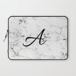 Letter A on Marble texture Initial personalized monogram Laptop Sleeve