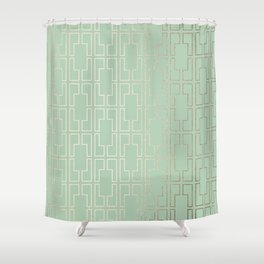 Simply Mid-Century in White Gold Sands and Pastel Cactus Green Shower Curtain