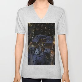 Hidden Christmas Tree in Manhattan at Night Unisex V-Neck