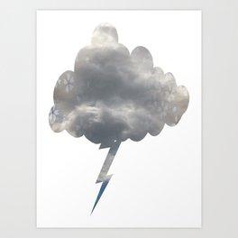 Floral Print Lightning Cloud  Art Print