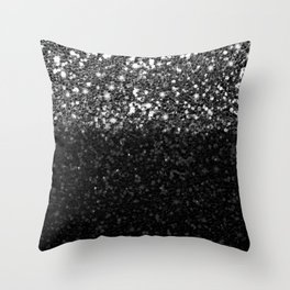 Black & Silver Glitter Gradient Throw Pillow