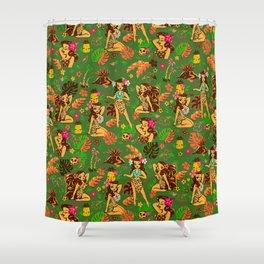 Tiki Temptress on Green Shower Curtain