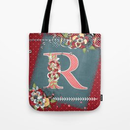 Country Charm Monogram Letter R Tote Bag
