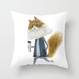 A cat holding a tumbler Throw Pillow