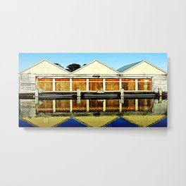 Reflections of a old boat Shed Metal Print