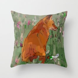 The hare and the fox Throw Pillow