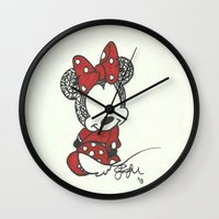 minnie mouse Wall Clocks featuring Minnie Mouse Zen Tangle by Jadie Miller