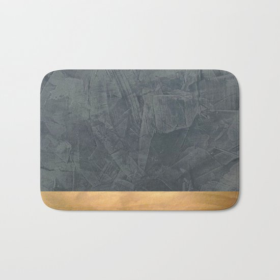 Slate Gray Stucco w Shiny Copper Metallic Trim - Faux Finishes - Rustic Glam Bath Mat