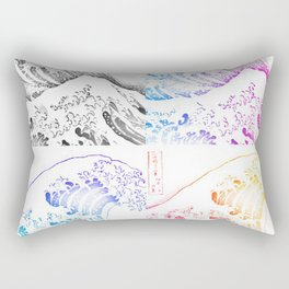 The Great Wave Sketch Color Block Collage Rectangular Pillow