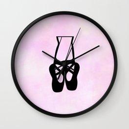 Black Ballet Shoes En Pointe Silhouette on Pink Wall Clock