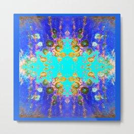 BLUE GARDEN GOLD-PINK  FLOWERS Metal Print