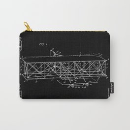 Wright Brothers Patent: Flying Machine - White on Black Carry-All Pouch