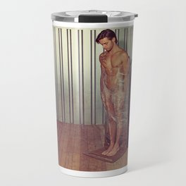 Sexy naked man wrapped with pallet wrap in a industrial container Travel Mug