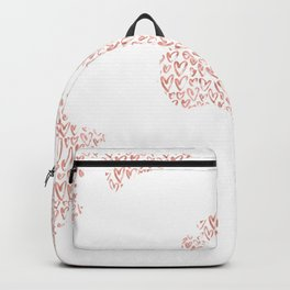 World Map Pink Rose Gold Hearts Love Backpack
