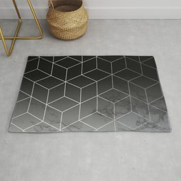 Silver Geometric Cubes Trendy White Grey Marble Rug