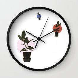 Ficus elastica, harmony and perspective Wall Clock