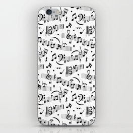 Doodle pattern with hand drawn music notes. iPhone Skin