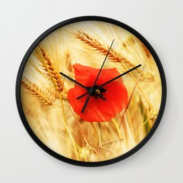 Poppies in the cornfield Wall Clock