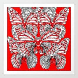 RED-GREY MONARCH BUTTERFLIES ABSTRACT ART Art Print