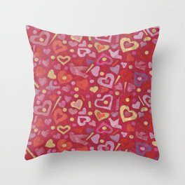 Hearts Paper Collage Valentines Day Pattern Scarlet Gold Throw Pillow