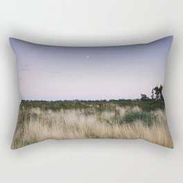 Moon and twilight sky over open area of felled forestry land. Norfolk, UK Rectangular Pillow
