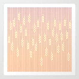 Wheat field in sunset Art Print