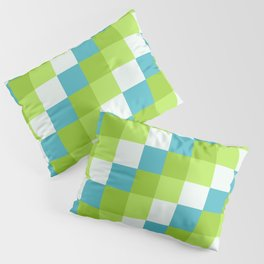 Apples and Pears - Pixelated Pattern with blues and green  Pillow Sham