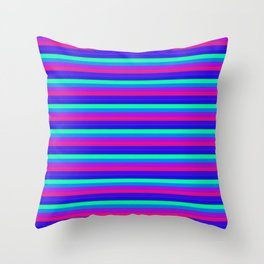 StRipES Pink Teal Blue Throw Pillow