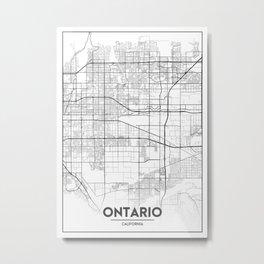 Minimal City Maps - Map Of Ontario, California, United States Metal Print