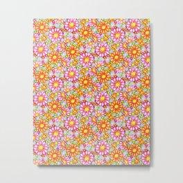 Summer Daisies Tiled Pattern Metal Print