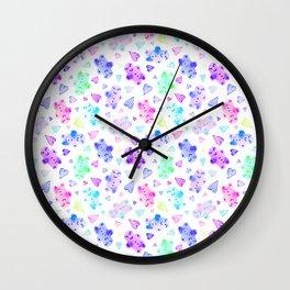 Watercolor Gingerbread Cookies in Pastel Rainbow Wall Clock