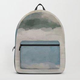 Modern Abstract Painting, Teal Blue, Sage Green, Beige Yellow Sandy Digital Prints Wall Art, Ocean Backpack