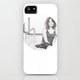 closed eyes - woman dotwork portrait iPhone Case