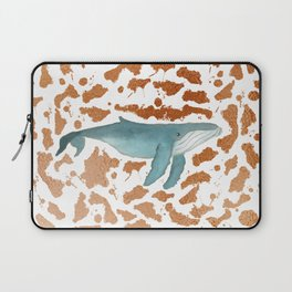 Blue Whale Swimming in Copper Laptop Sleeve