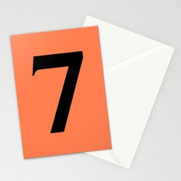 7 (BLACK & CORAL NUMBERS) Stationery Cards