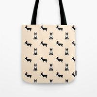 boston terrier Tote Bags featuring Boston Terrier by Luiza Sequeira