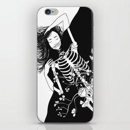 girl skeleton flower iPhone Skin