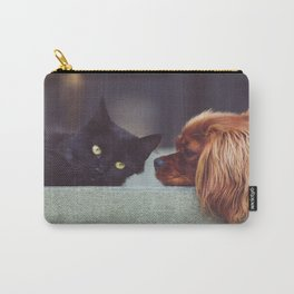 CAT - DOG - LYING - DOWN - ANIMALS - FRIENDS - PHOTOGRAPHY Carry-All Pouch
