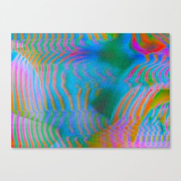 Analogue Glitch Electric Gradient Waves Canvas Print