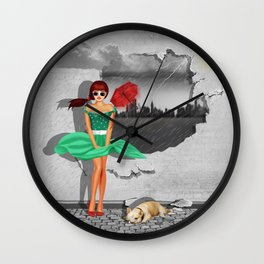 Weather change on the wall, with pin-up girl Wall Clock