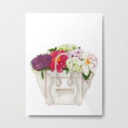 Flowers in Designer Handbag Metal Print
