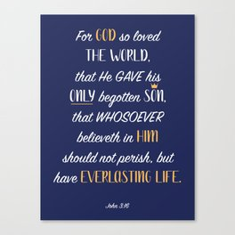John 3:16 - Navy Canvas Print