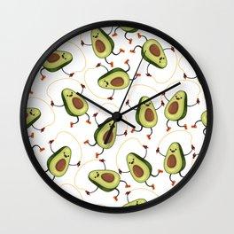 Cute avocado character makes the jump rope exercises pattern Wall Clock